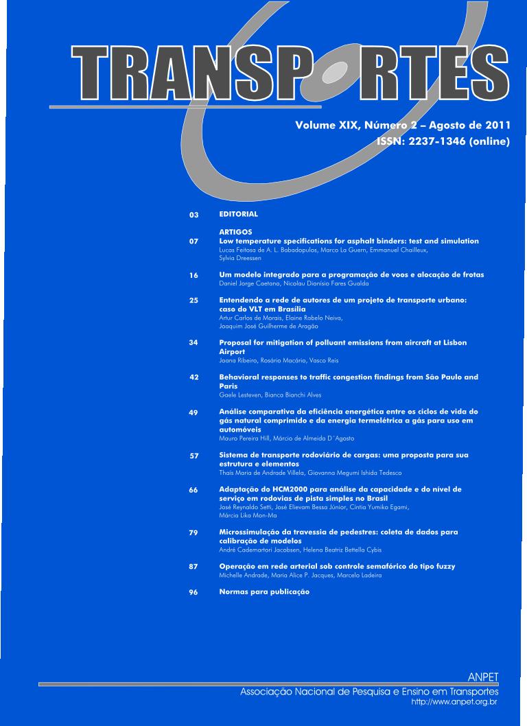 TRANSPORTES, v. 19, n. 2, 2011 (ISSN: 2237-1346)